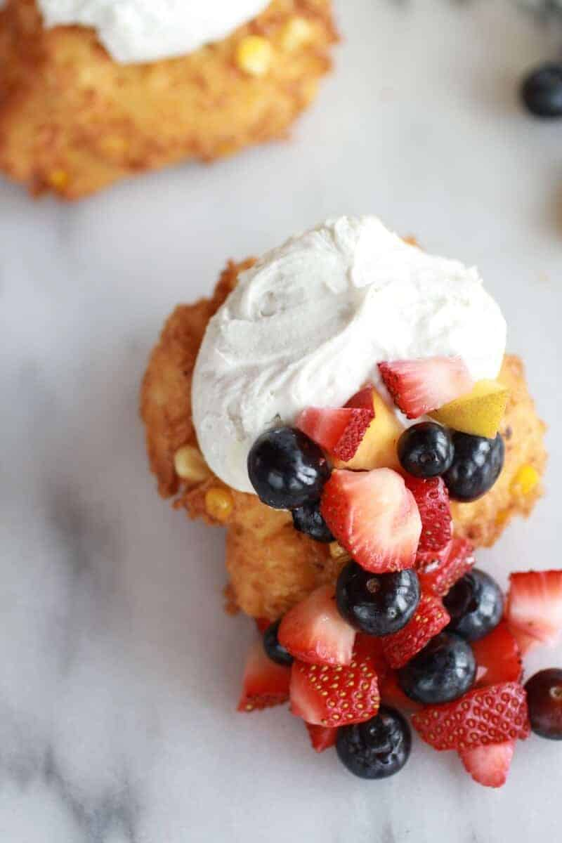 Corn Fritters with Coconut Whipped Cream and Sweet Honey Bourbon Syrup | https://www.halfbakedharvest.com/