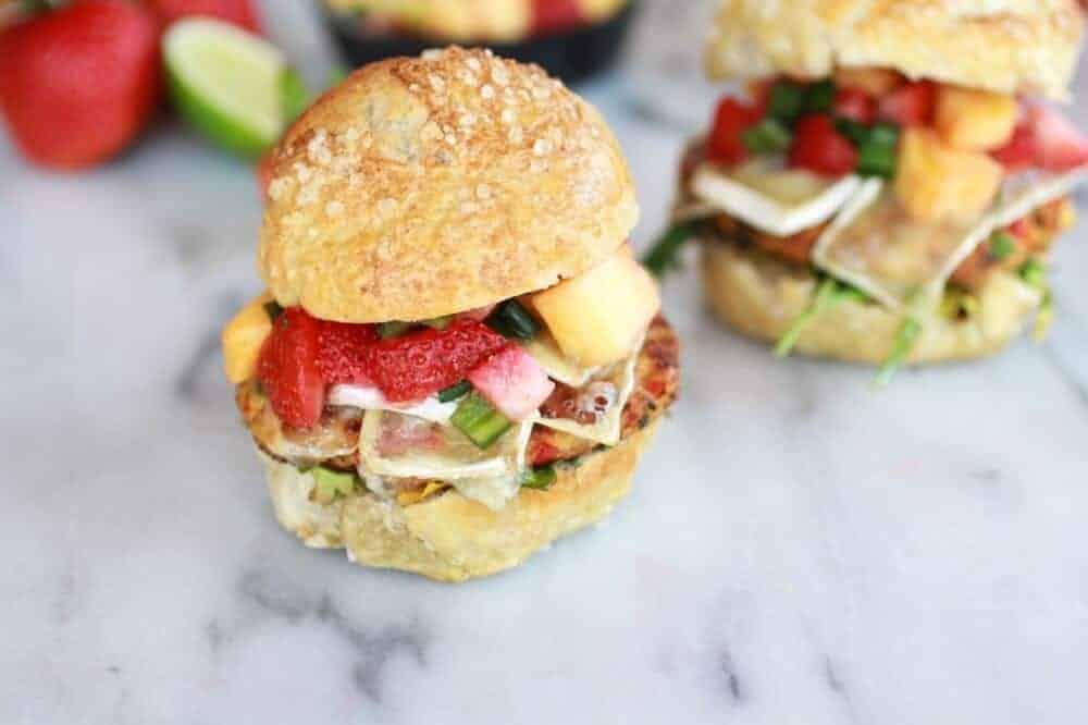 Brie Crab Cake Pretzel Slider Melts with Strawberry Pineapple Salsa | halfbakedharvest.com