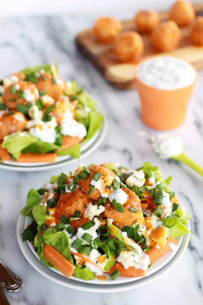Crispy Buffalo Quinoa Bites Salad with Cheesy Ranch-1