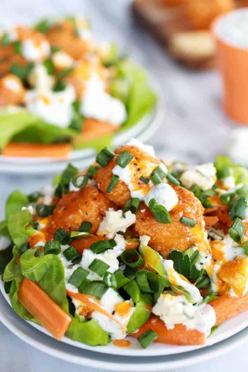 Crispy Buffalo Quinoa Bites Salad | https://www.halfbakedharvest.com/