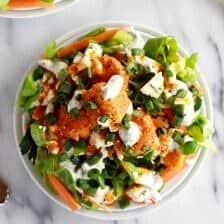 Crispy Buffalo Quinoa Bites Salad