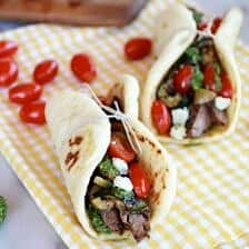 Greek Steak and Pesto Salad Gyros