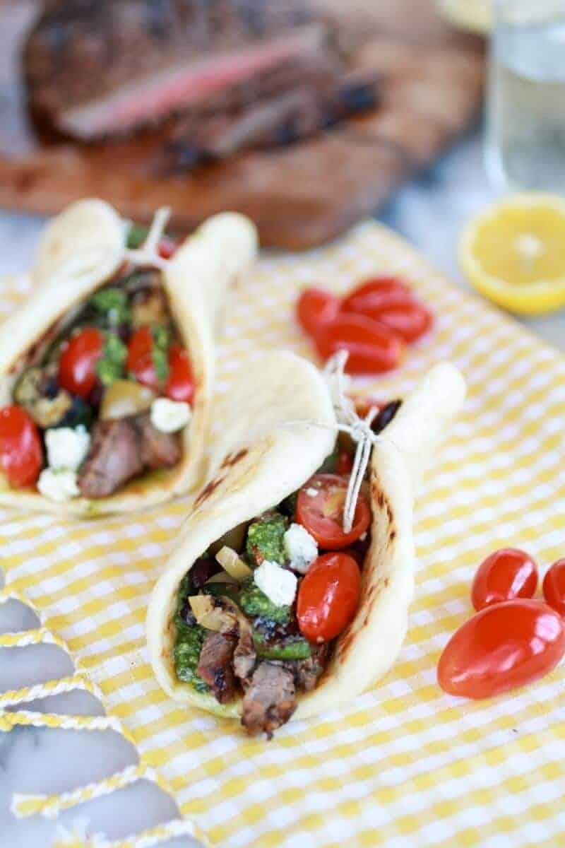 Greek Steak and Pesto Salad Pitas -6