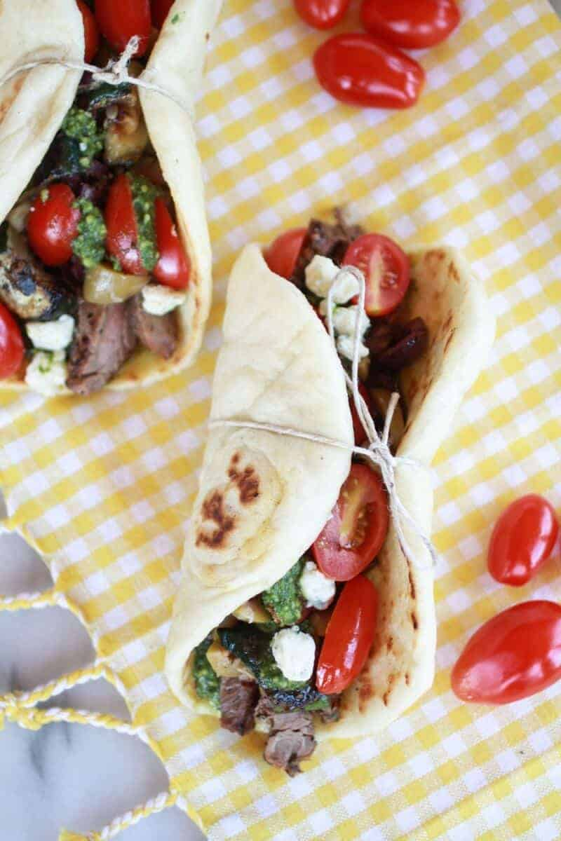 Greek Steak and Pesto Salad Gyros | https://www.halfbakedharvest.com/