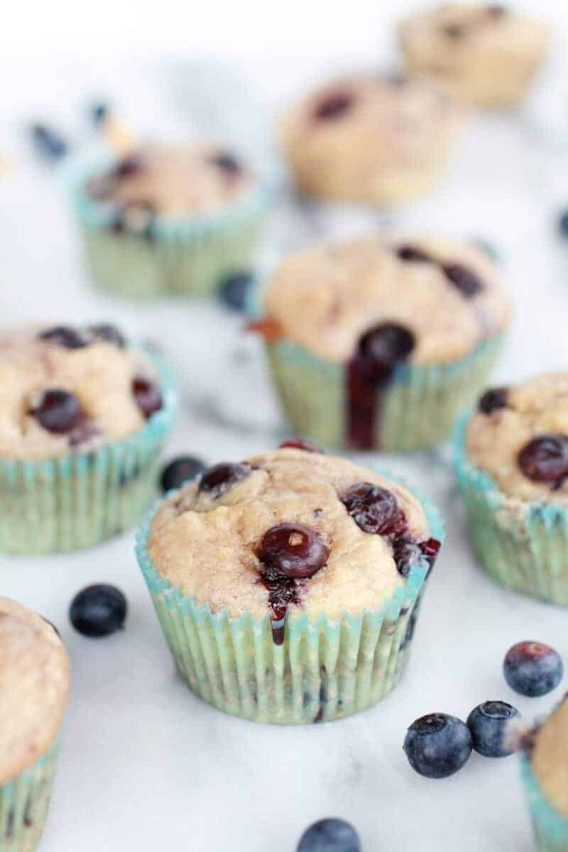 Whole Wheat Caramelized Blueberry Loaded Muffins | https://www.halfbakedharvest.com/