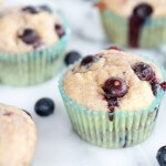 Whole Wheat Caramelized Blueberry Loaded Muffins.