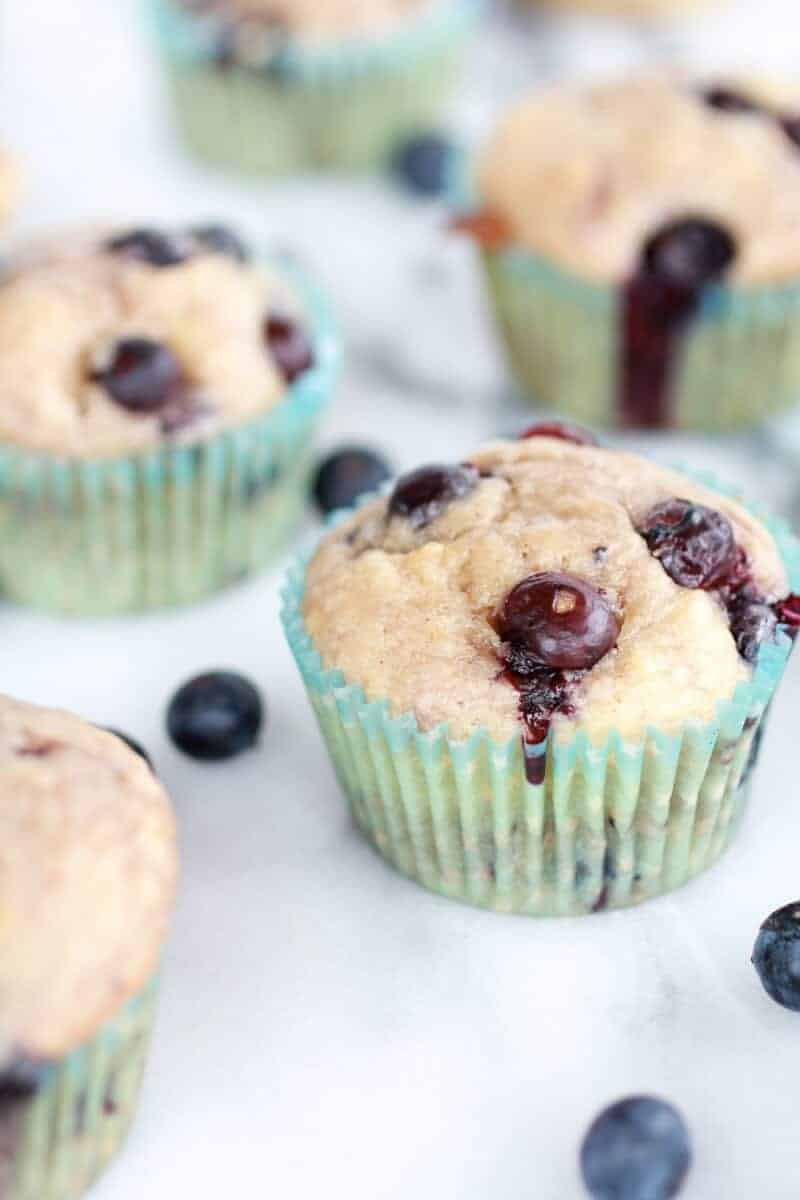 Healthy Caramelized Blueberry Loaded Muffins-7