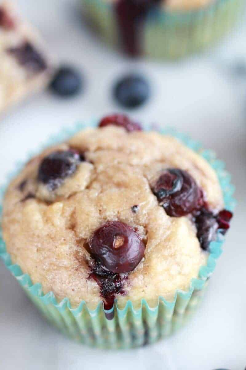 Whole Wheat Caramelized Blueberry Loaded Muffins | http://www.halfbakedharvest.com/
