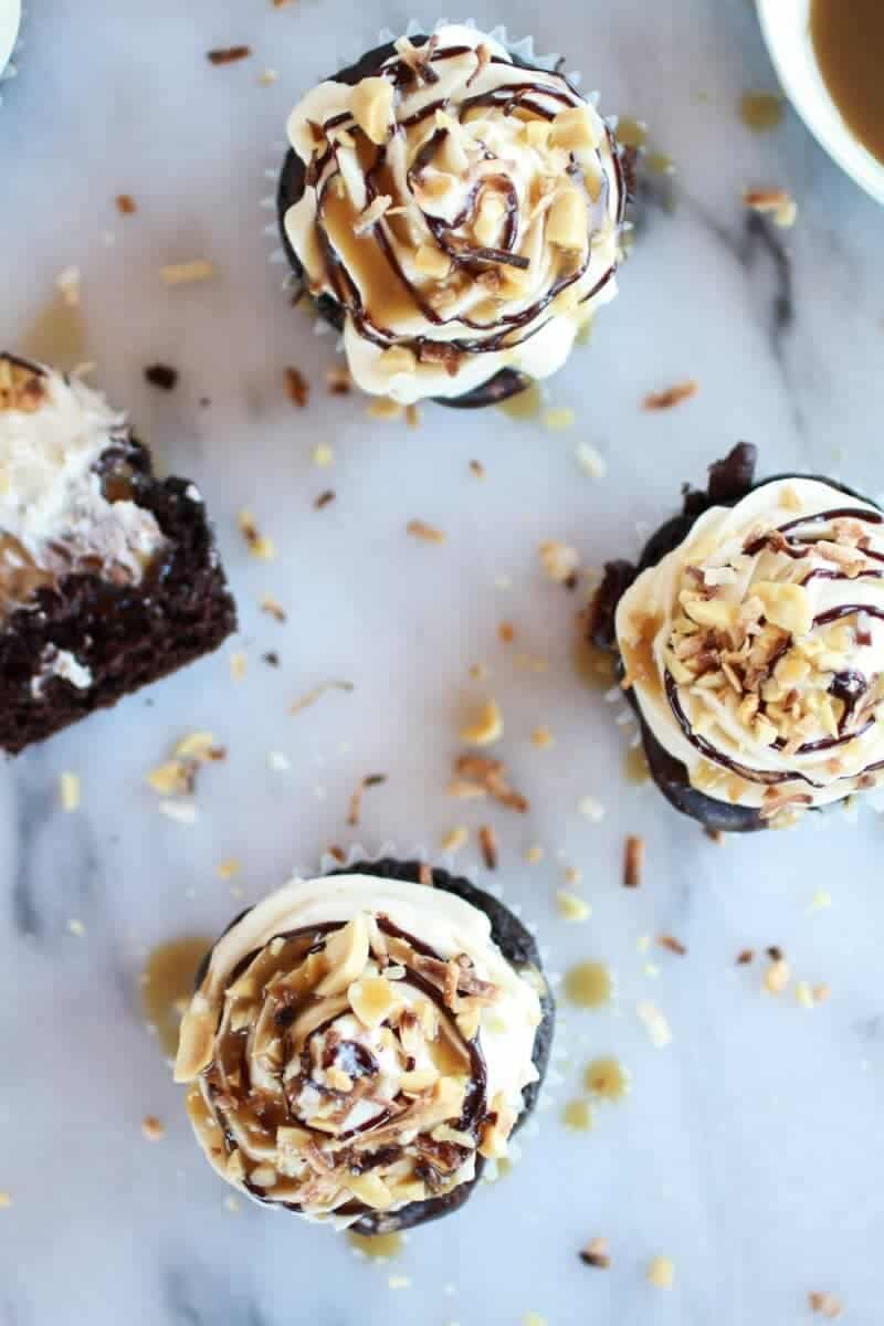 Snickers Coconut Caramel Cupcakes | halfbakedharvest.com