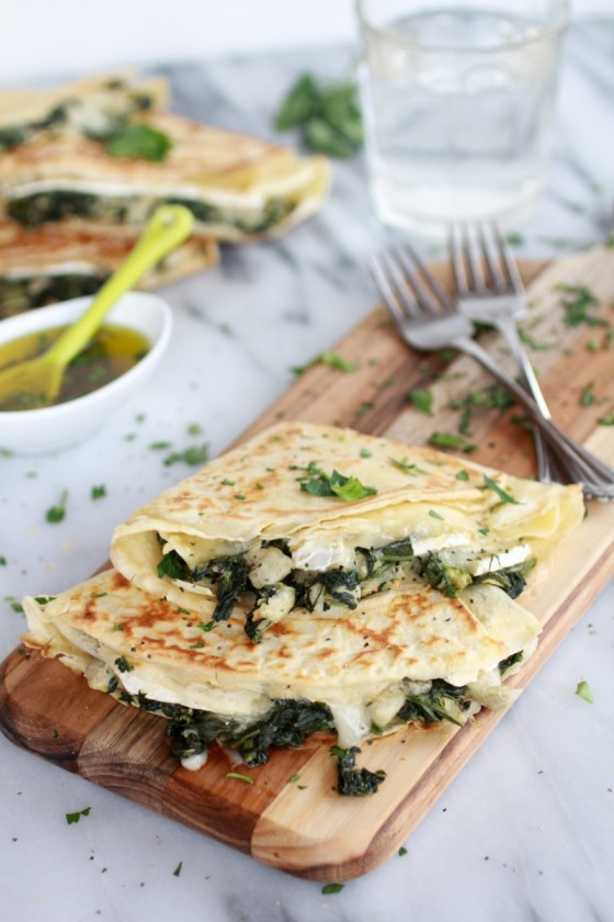 Spinach Artichoke and Brie Crepes with Sweet Honey Sauce-2