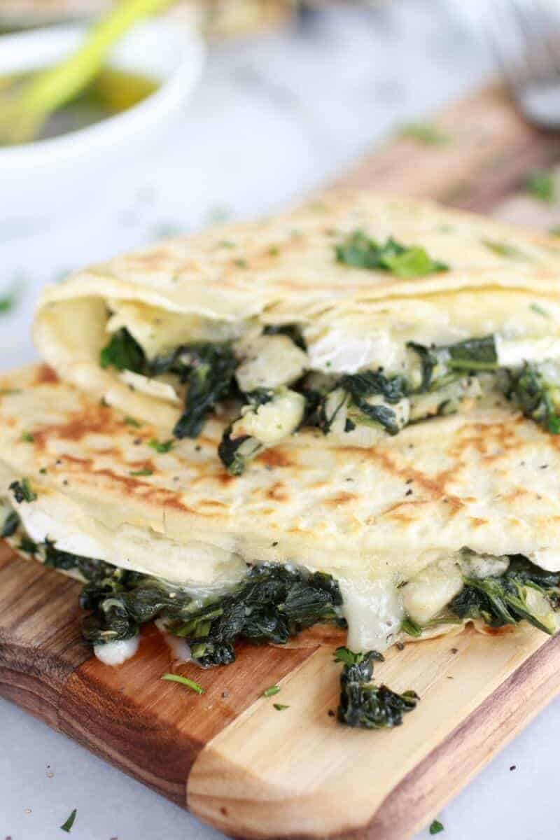 Spinach Artichoke and Brie Crepes with Sweet Honey Sauce | https://www.halfbakedharvest.com/