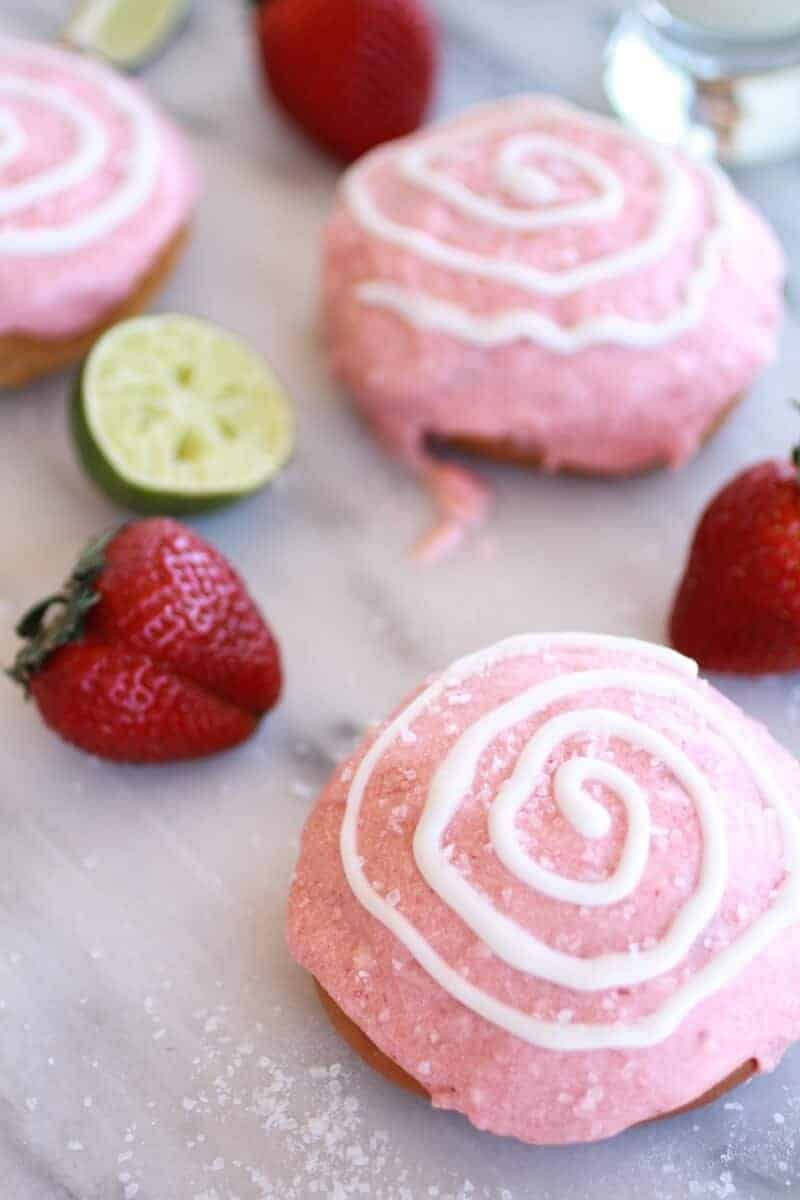 Strawberry Margarita Cream Filled Donuts | https://www.halfbakedharvest.com/