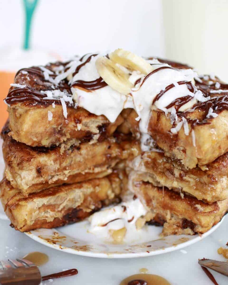 caramelized coconut banana bread waffle french toast | https://www.halfbakedharvest.com/