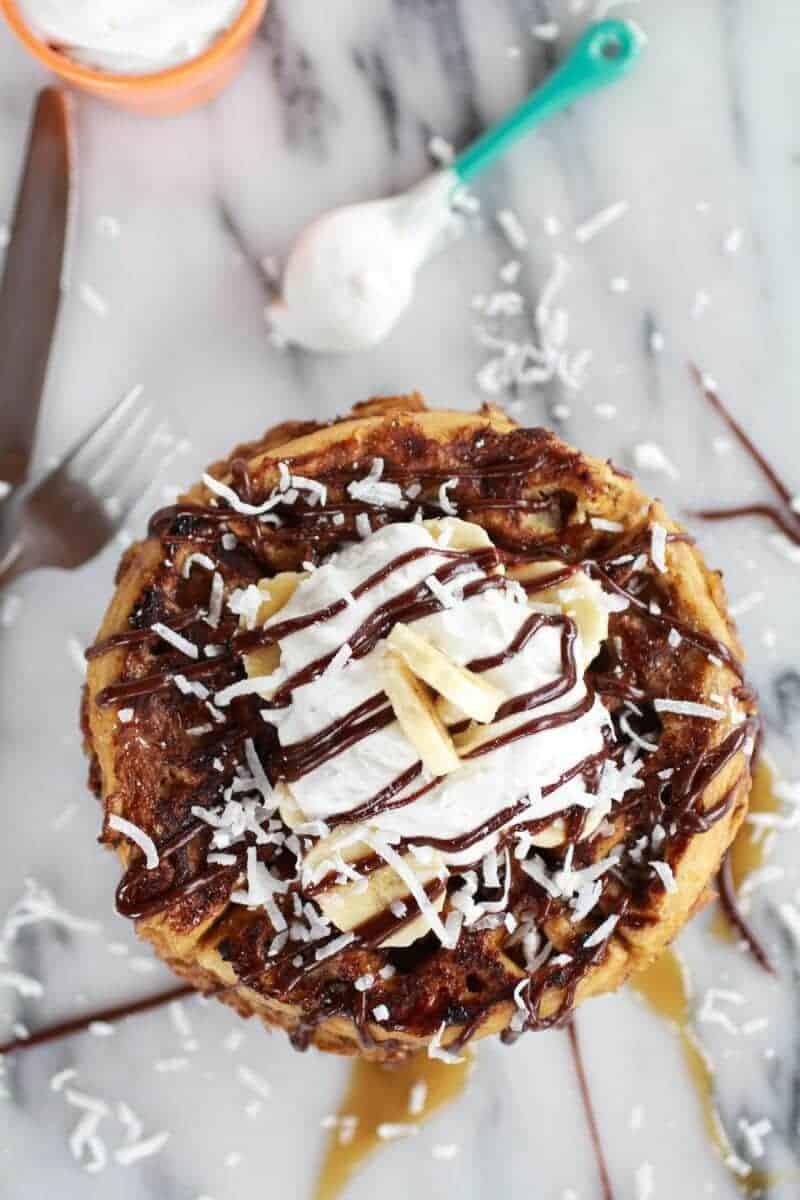 caramelized coconut banana bread waffle french toast-9