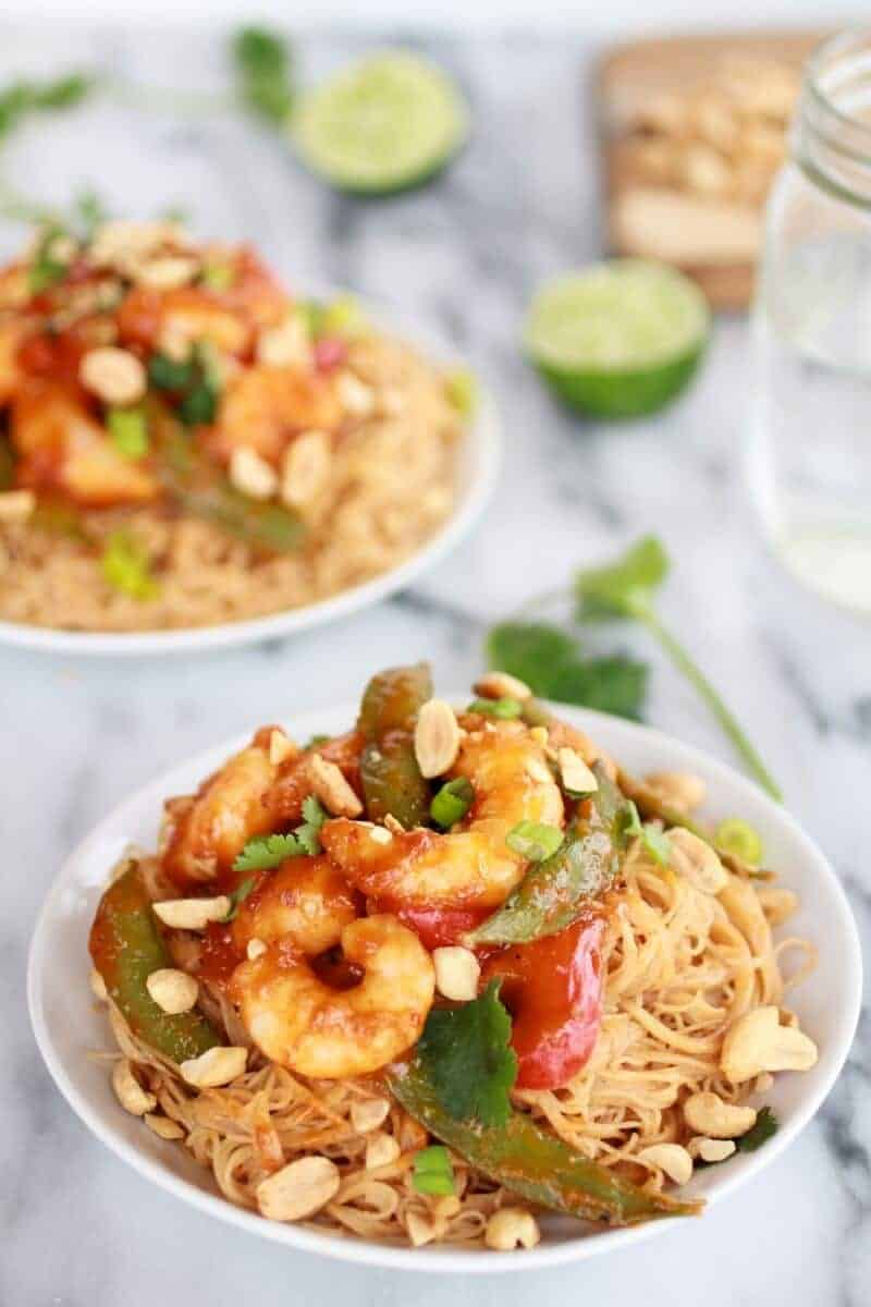 Sweet Thai Shrimp Curry with Peanut Noodles | http://www.halfbakedharvest.com/