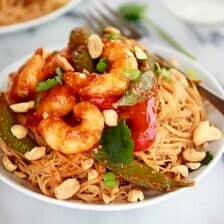 Sweet Thai Shrimp Curry with Peanut Noodles.