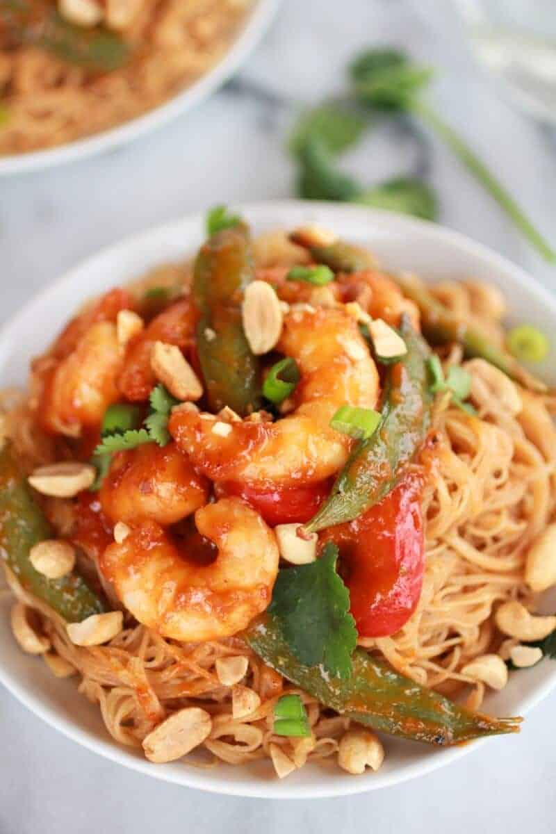 Sweet Thai Shrimp Curry with Peanut Noodles | https://www.halfbakedharvest.com/