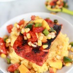 Blackened Salmon with Cheesy Polenta and Spicy Peach + Chard Corn Salsa