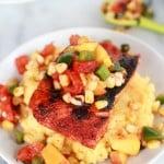 Blackened Salmon with Cheesy Polenta and Spicy Peach + Chard Corn Salsa-4