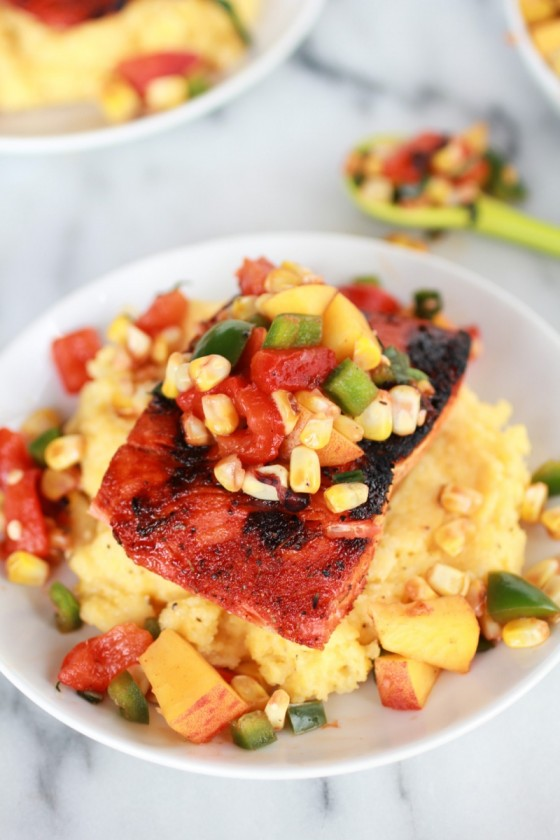 Blackened Salmon with Cheesy Polenta and Spicy Peach + Chard Corn Salsa-4