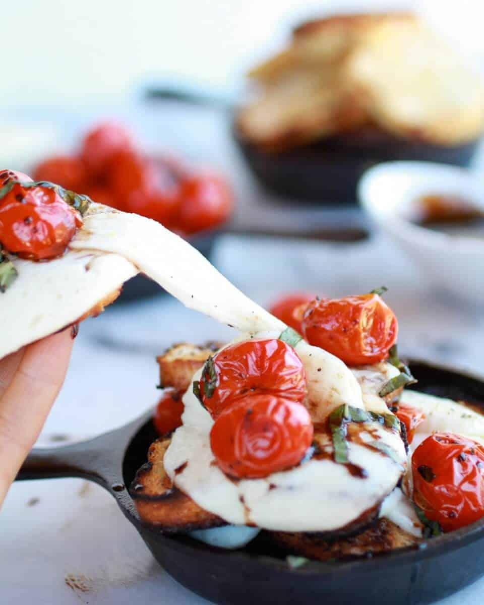 Blistered Tomato Grilled Toast Caprese Nachos with Balsamic Glaze    halfbakedharvest.com