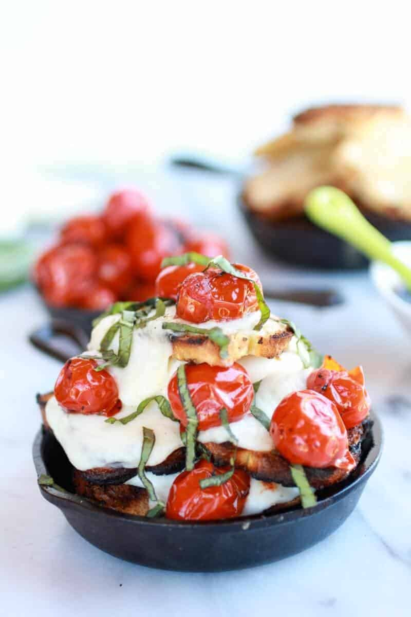 Blistered Tomato Grilled Toast Caprese Nachos with Balsamic Glaze || halfbakedharvest.com