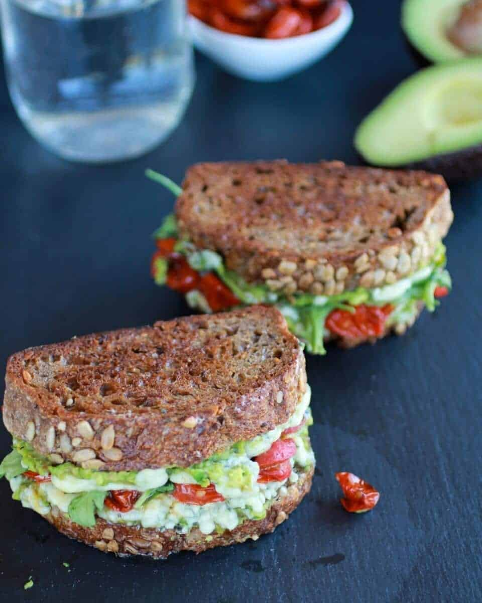 Blue Cheese + Smashed Avocado Roasted Tomato Grilled Cheese | halfbakedharvest.com/