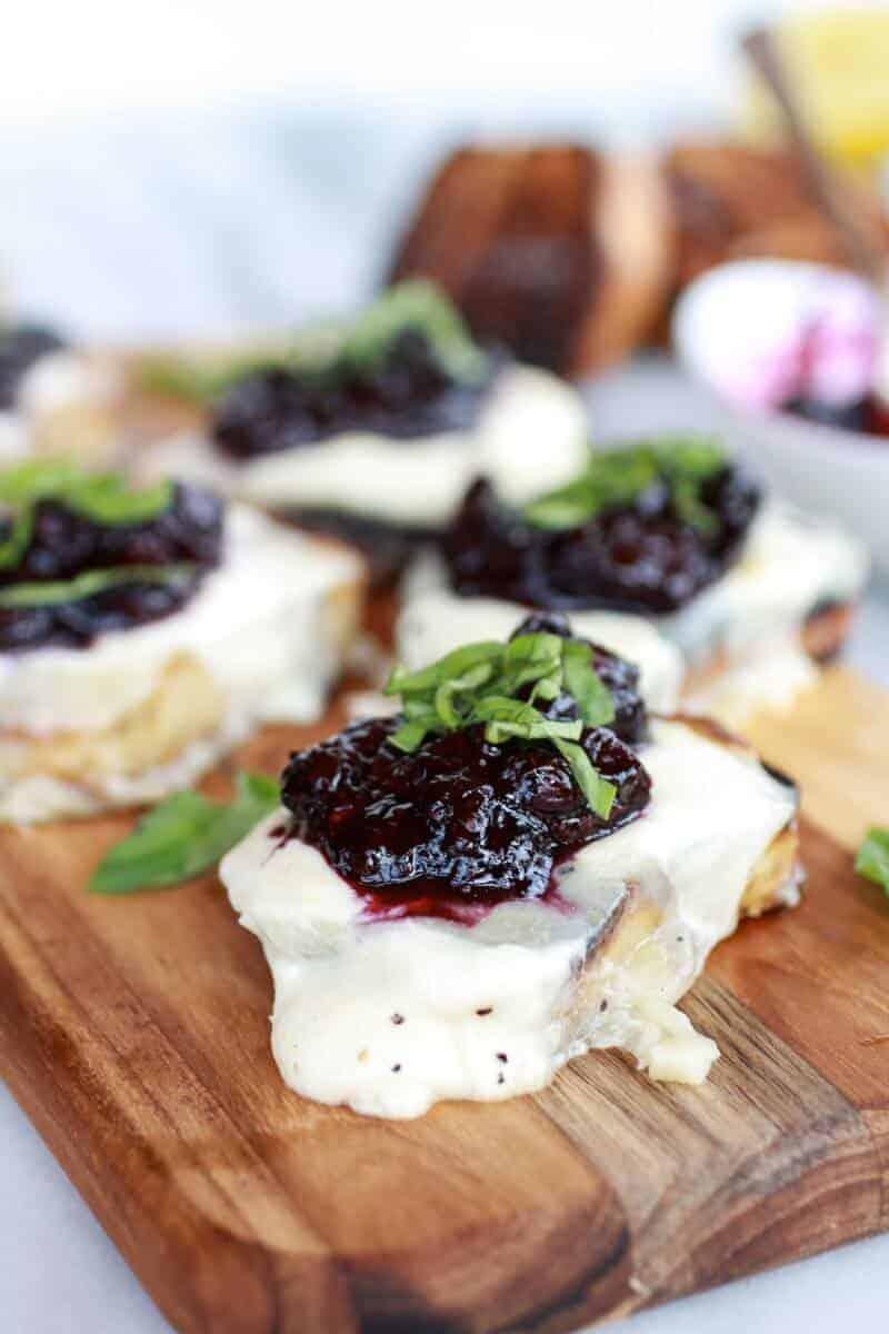 Blueberry Basil Balsamic Mozzarella Crisps | halfbakedharvest.com