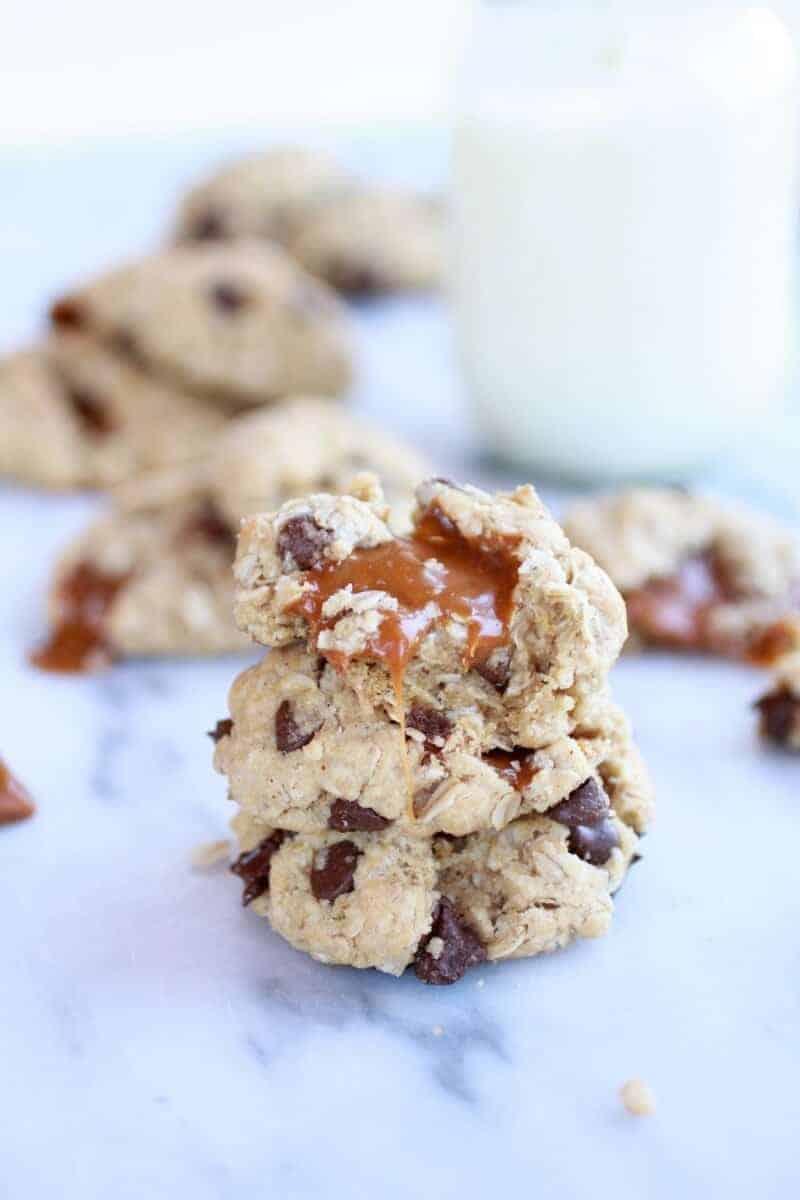 Burnt Peanut Butter Caramel Oatmeal Chocolate Chip Cookies || halfbakedharvest.com