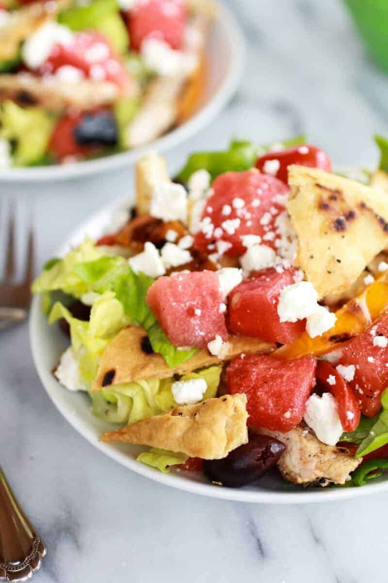 Chicken Gyro Salad with Homemade Pita Chips, Watermelon + Feta | halfbakedharvest.com