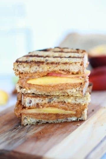 Chipotle Honey Roasted Peanut Butter and Peach Grilled Sandwich