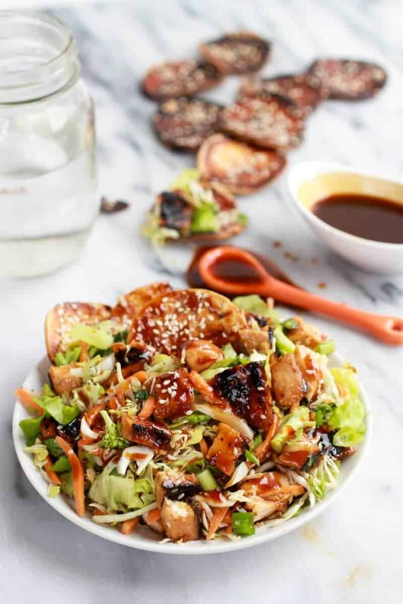 Chopped Asian Bbq Chicken Salad With Honey Sesame Crackers Half Baked Harvest