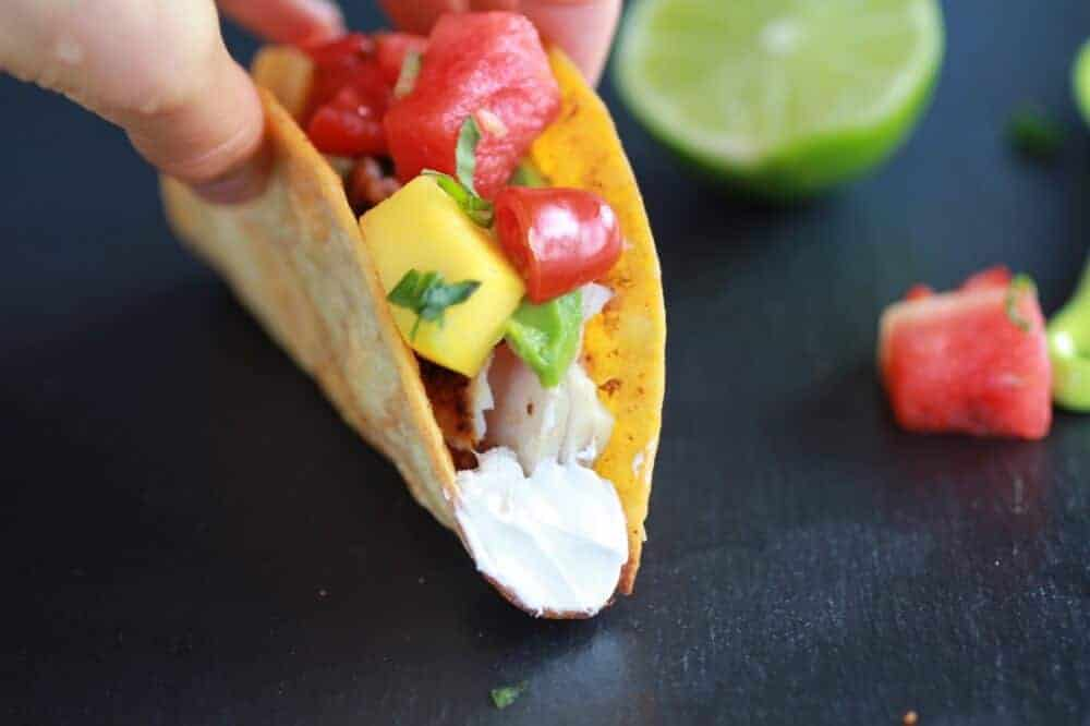 Coconut Lime Mahi Mahi Tacos with Tequila Soaked Watermelon Salsa | halfbakedharvest.com