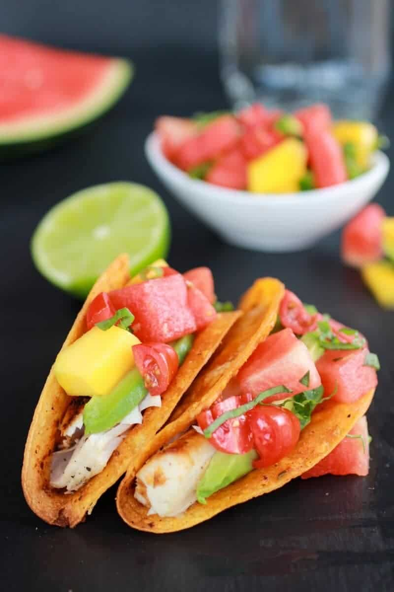Coconut Lime Mahi Mahi Tacos with Tequila Soaked Watermelon Salsa ...