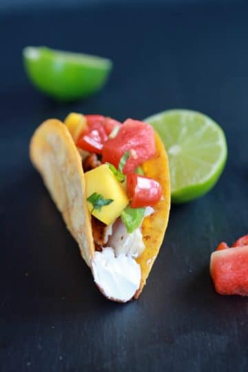 Coconut Lime Mahi Mahi Tacos with Tequila Soaked Watermelon Salsa