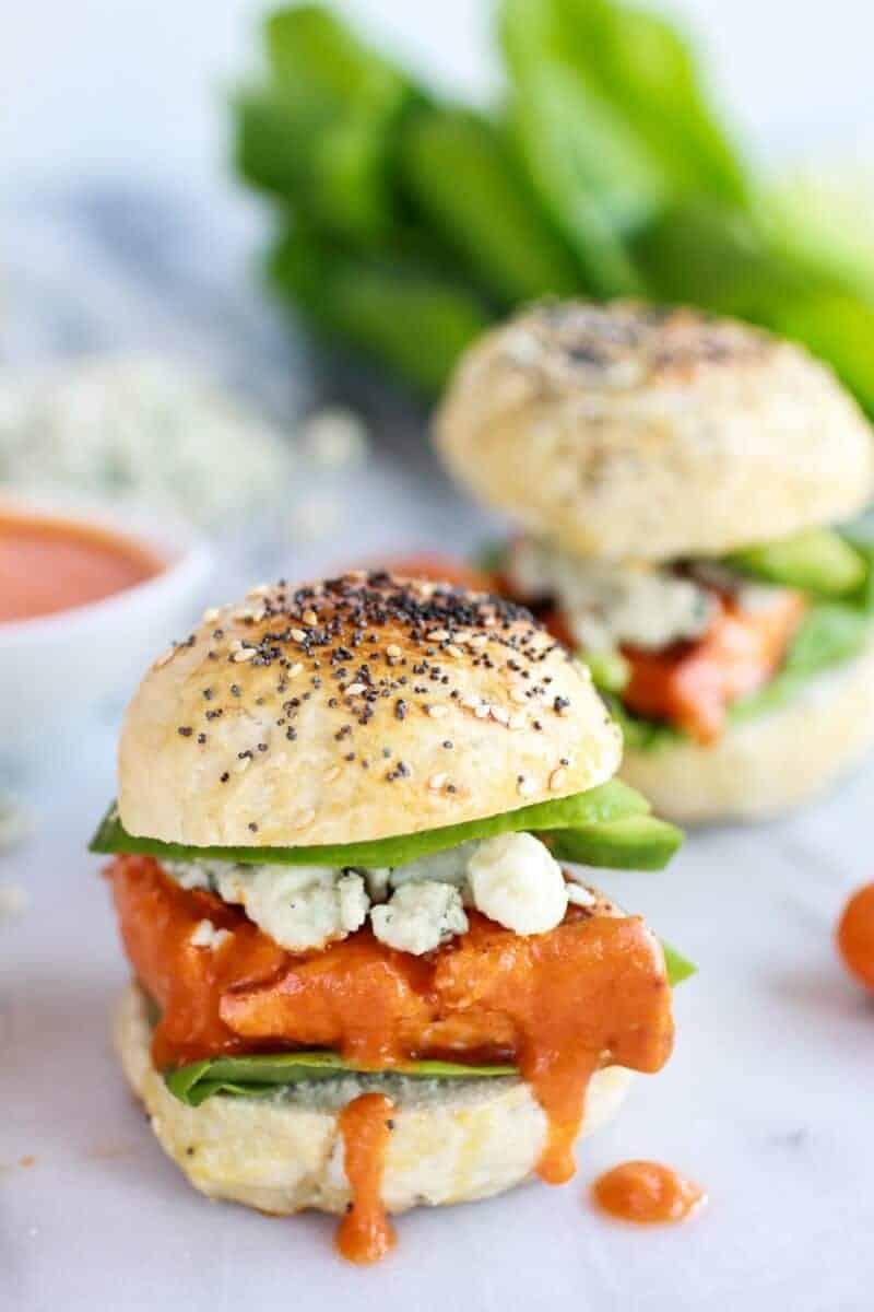Crispy Buffalo Style Salmon Sliders | halfbakedharvest.com