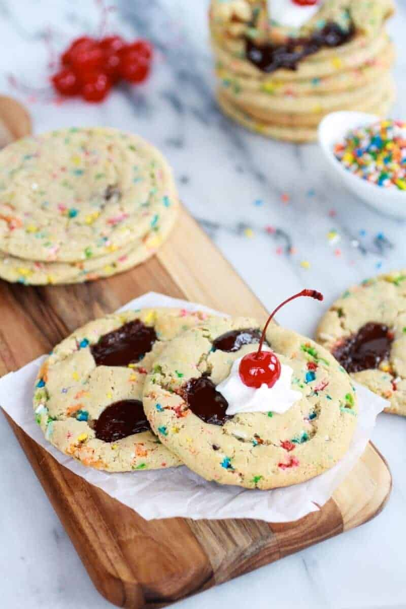 Giant Hot Fudge Ice Cream Sundae Cookies | halfbakedharvest.com