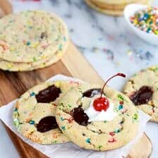 Giant Hot Fudge Ice Cream Sundae Cookies