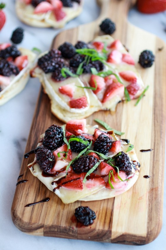Grilled Blackberry, Strawberry, Basil and Brie Pizza Crisp with Honey Balsamic Glaze-6