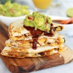 Hawaiian BBQ Quesadillas with Pineapple-Mango Guacamole