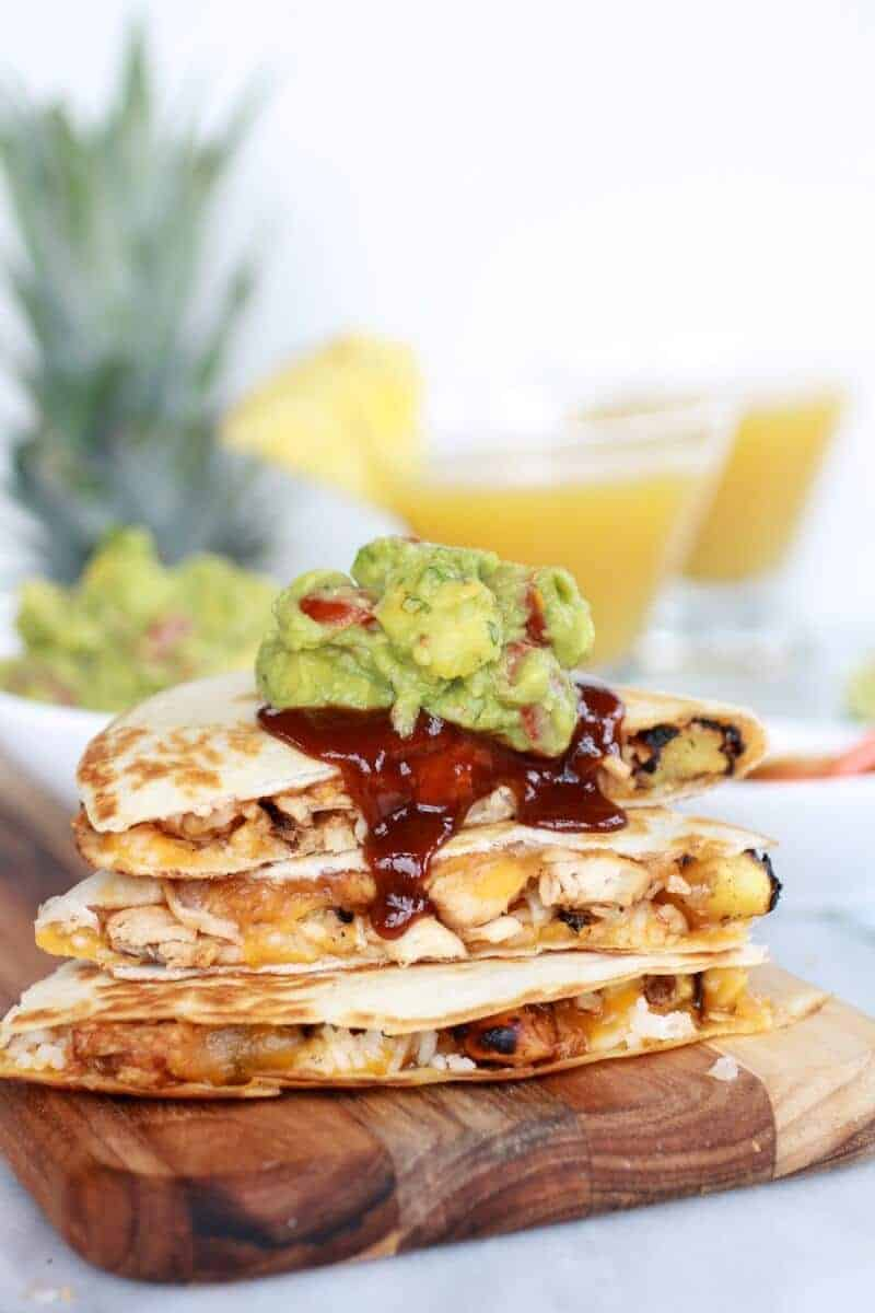 Hawaiian BBQ Quesadillas with Pineapple-Mango Guacamole | halfbakedharvest.com