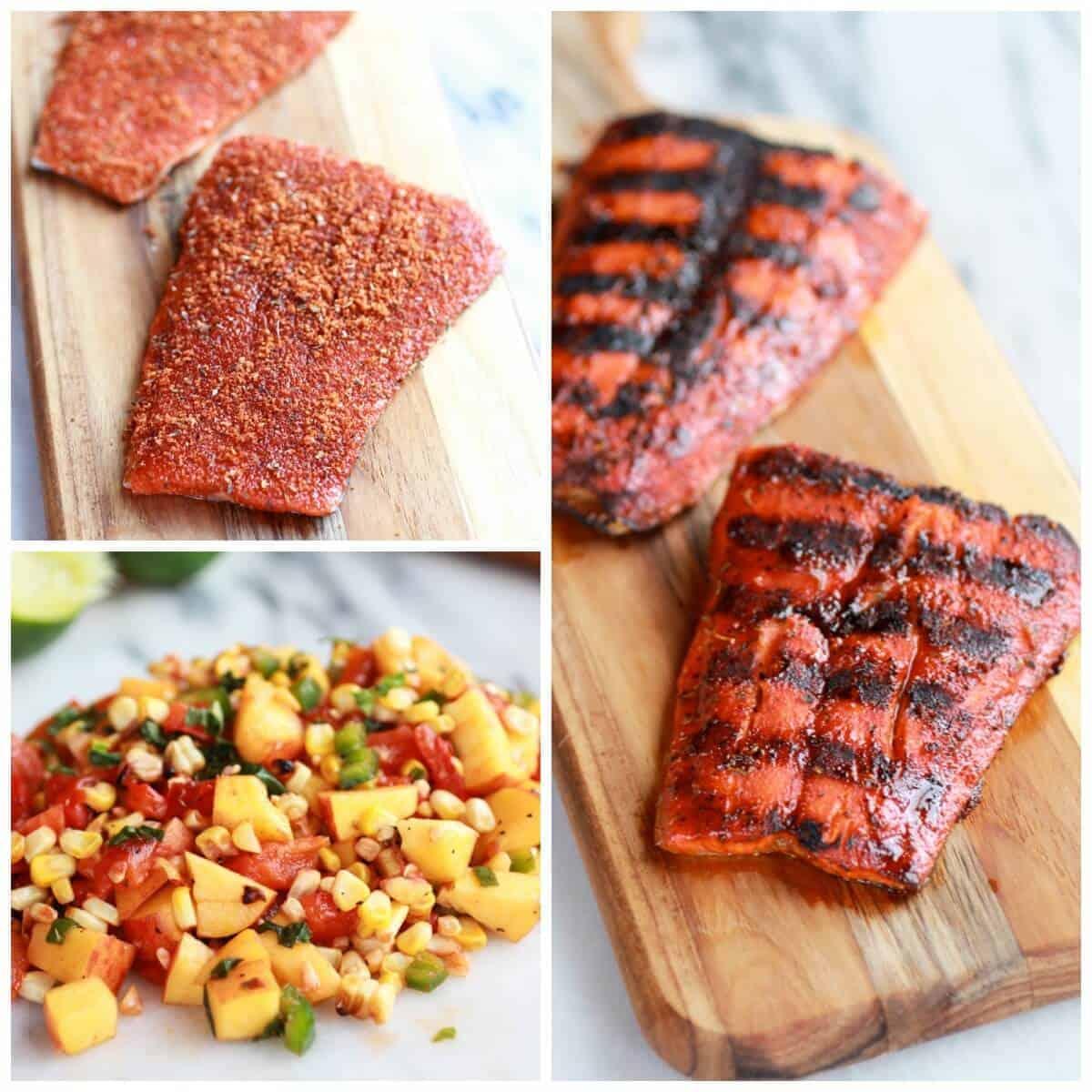 Blackened Salmon with Cheesy Polenta and Spicy Peach + Chard Corn Salsa | halfbakedharvest.com