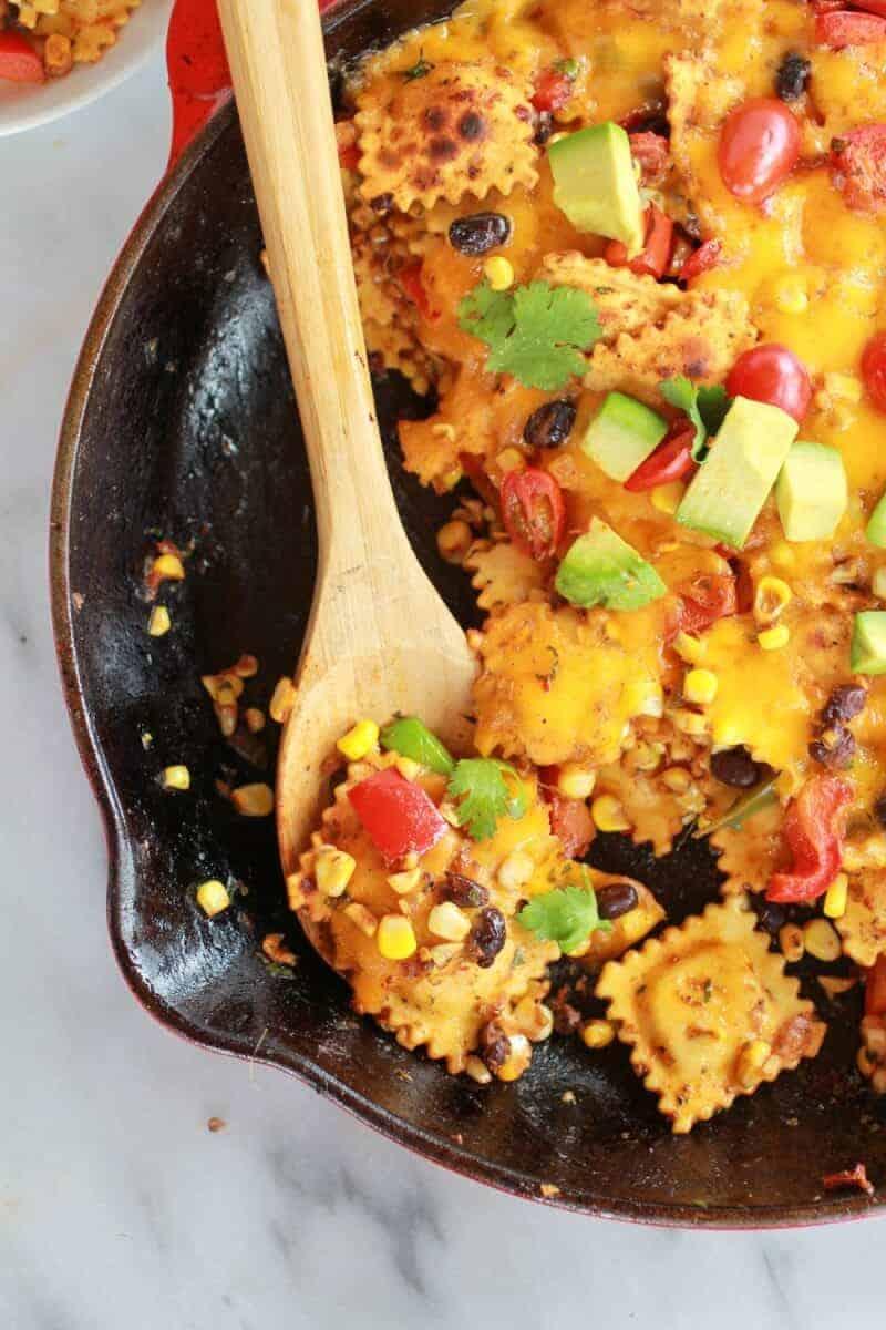 Quick + Easy Southwest Ravioli Skillet Pasta | halfbakedharvest.com