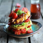 Avocado and Gouda BLT Corn Fritter Stacks with Chipotle Bourbon Dressing-12
