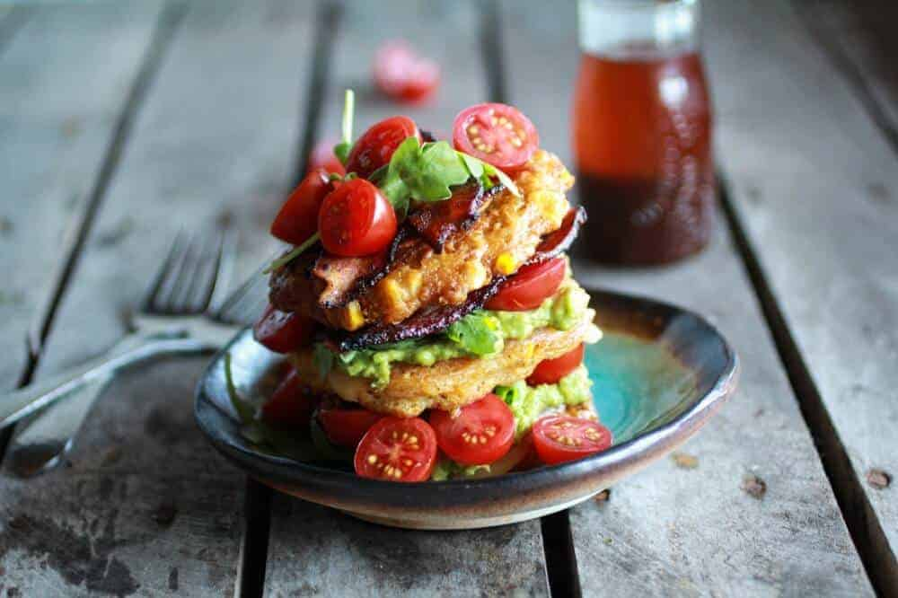 Corn & Zucchini Fritter Stacks With Bacon And Avocado Recipes ...