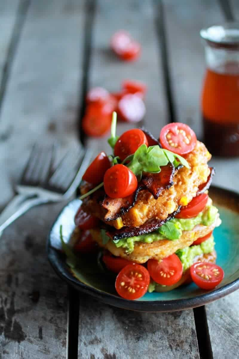 Avocado and Gouda BLT Corn Fritter Stacks with Chipotle Bourbon Dressing | halfbakedharvest.com
