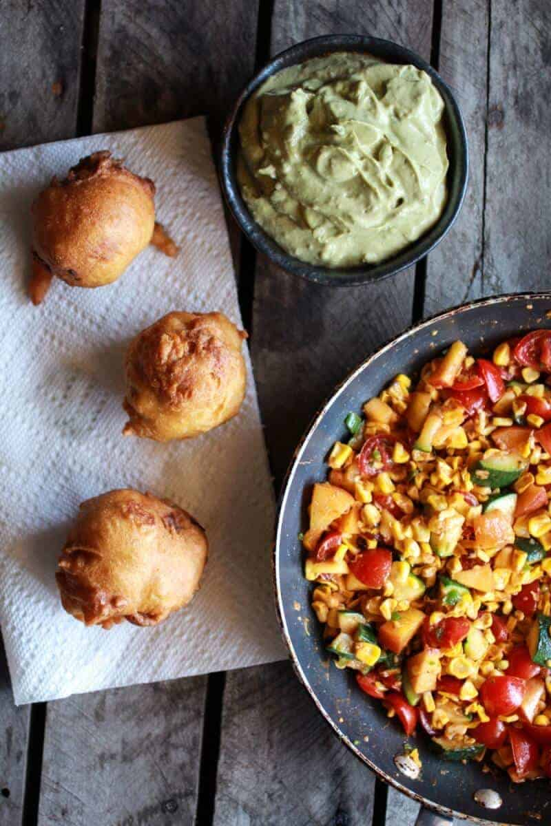 Blue Cheese Lobster Beignets with Spicy Avocado Cream + Garden Veggie Sauté | halfbakedharvest.com