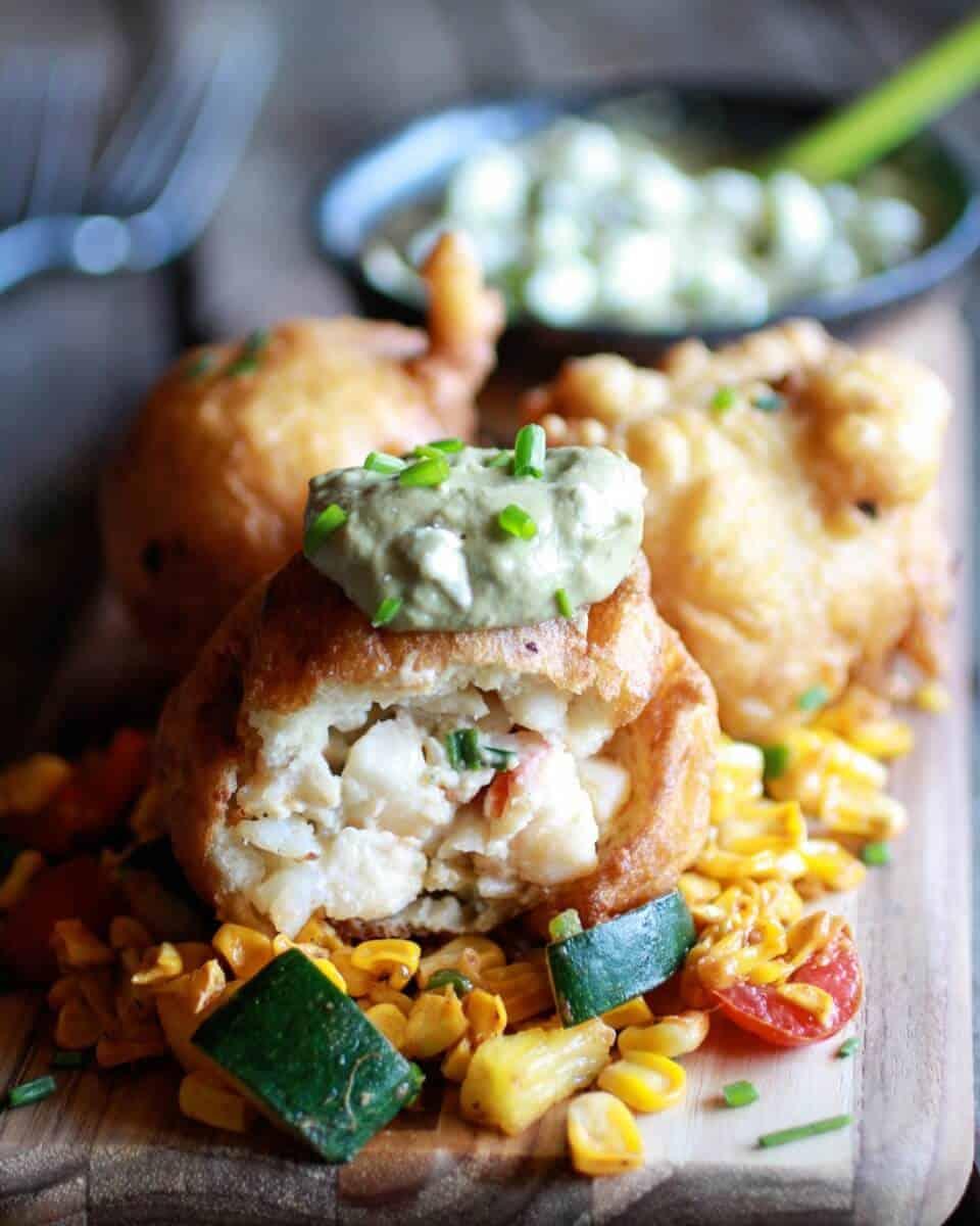 Blue Cheese Lobster Beignets with Spicy Avocado Cream + Garden Veggie Sauté | halfbakedharvest.com