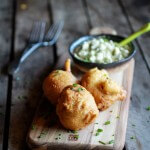 Blue Cheese Lobster Beignets with Spicy Avocado Cream + Garden Veggie Sauté