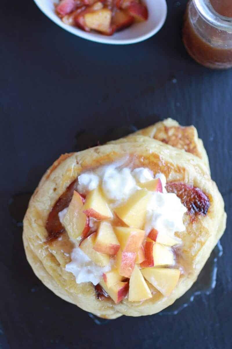 Bourbon Peaches and Coconut Cream Pancakes with Bourbon Cream Syrup   halfbakedharvest.com